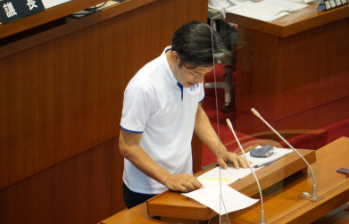2020年6月和歌山県議会で一般質問に登壇する谷口